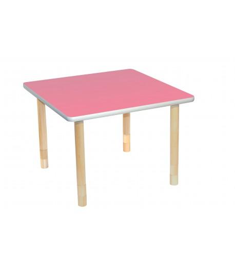 Stôl drevený štvorcový KST ružový